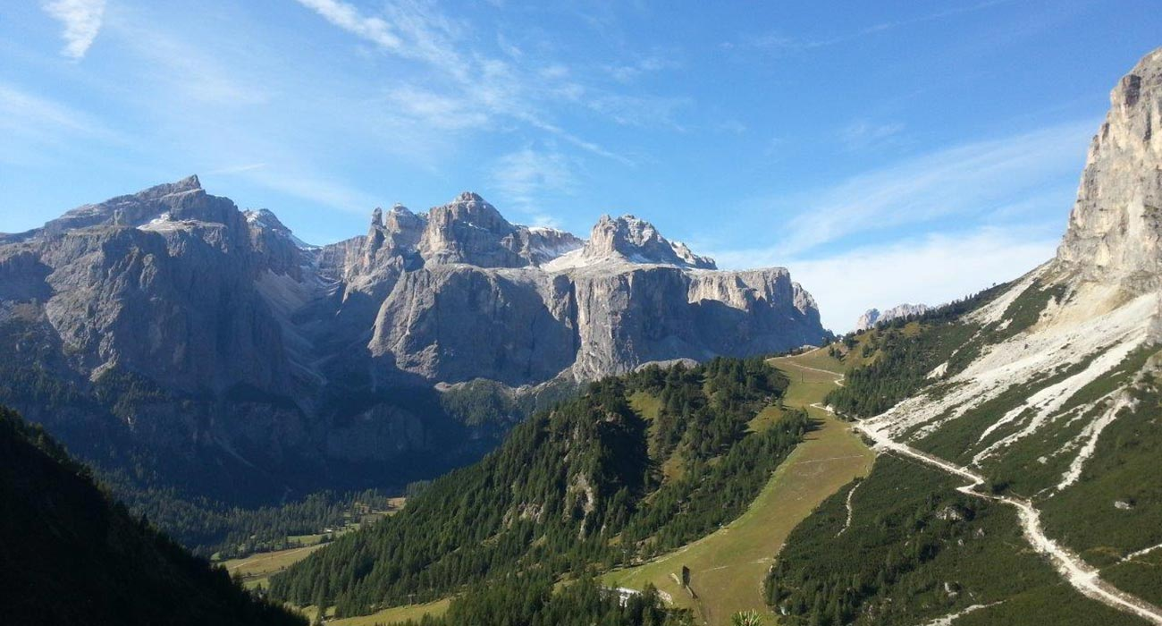 The view of the mountains of the Dolomites around Arabba