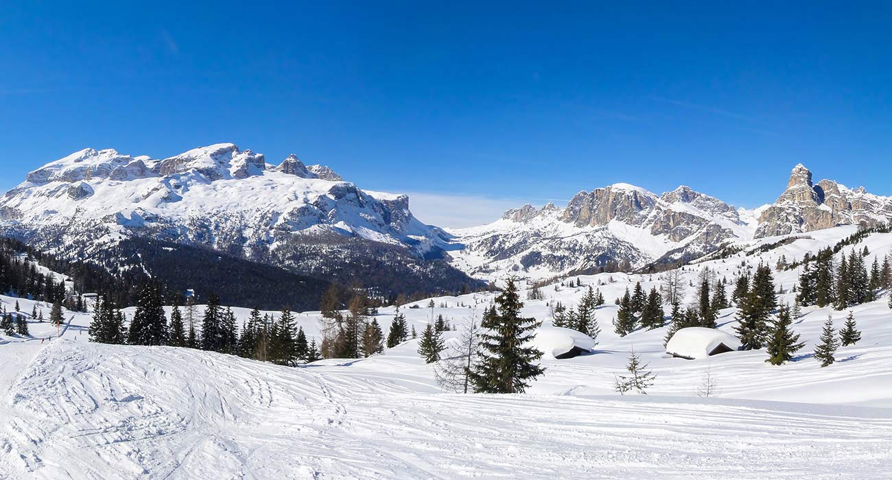 View of snow-covered slopes and mountains in South Tyrol